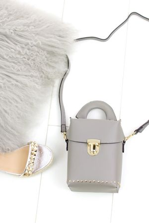 BOBBIE Grey Micro Box Bag