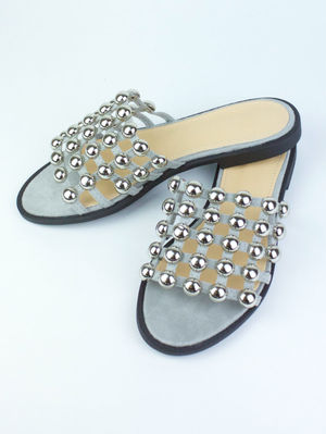 KAYA Grey Bauble Mule Sandal