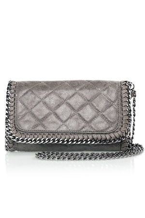 MYA Grey Quilted Faux Suede Chain Clutch Shoulder Bag