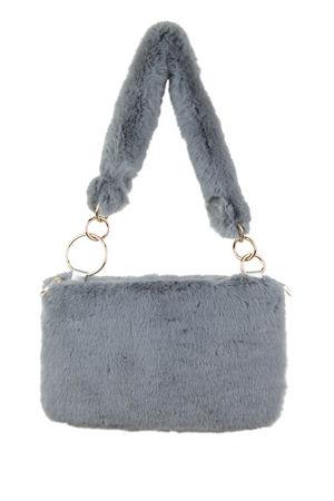 UNA Grey Faux Fur Shoulder Bag