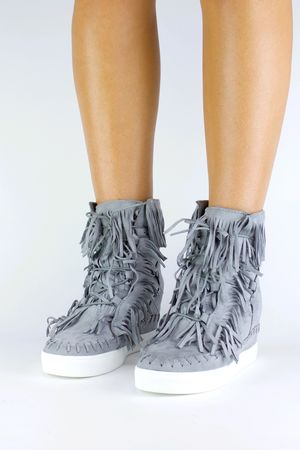 BAILEY Grey Fringe Wedge Sneaker