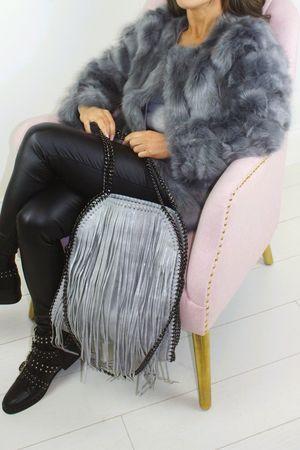ALANA Grey Tiered Faux Fur Coat