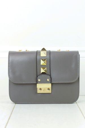 GIOVANNI Grey Stud Shoulder Bag