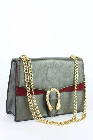 NATASHA Grey Emblem Shoulder Bag
