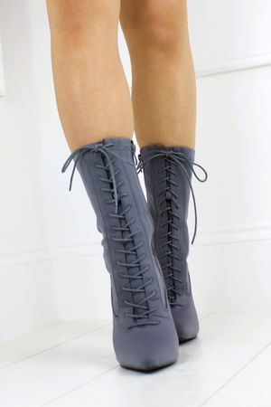 KIMMY Grey Lace Up Boot