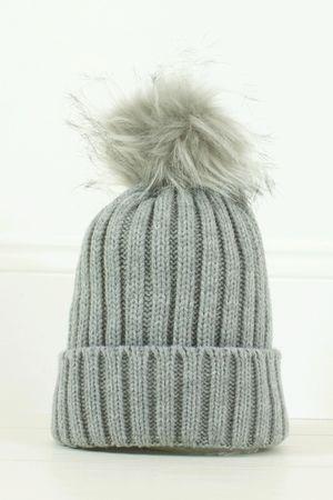 AMBER Grey Faux Fur Bobble Hat