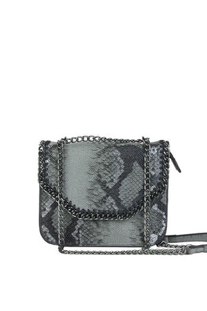STELLA Grey Python Chain Shoulder Bag