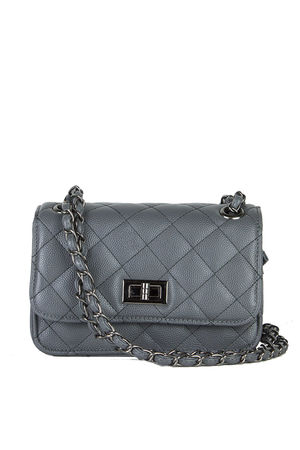 LEAH Dark Grey Quilted Bag With Chain Detail