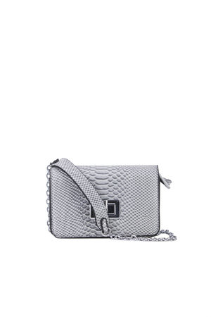 EVELYN Grey Snake Print Shoulder Bag