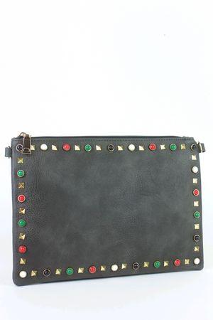 FREYA Grey Stud Clutch Bag