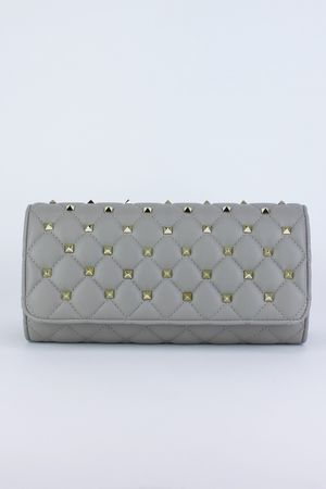 LAILA Grey Stud Clutch Bag