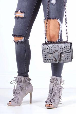 GISELLE Grey Fringe Peep Toe Boots