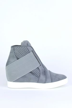 CARA Grey Strap Wedge Sneakers