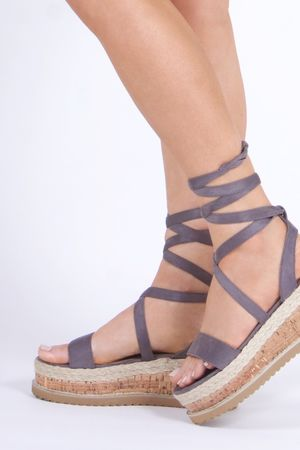 INDIGO Grey Black Wrap Up Espadrille Flatforms