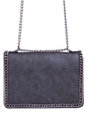 ROSIE Dark Grey Chain Shoulder Bag