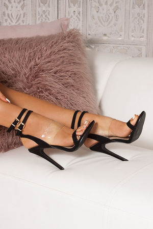 HALLIE Black Double Ankle Strap Heels
