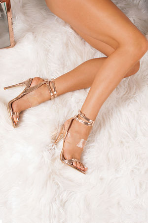 HALLIE Rose Gold Double Ankle Strap Heels