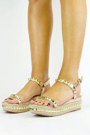 HALLIE Rose Gold Stud Espadrille Sandal