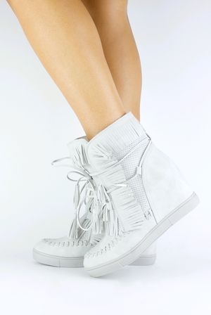 HARRIE Grey Fringe Wedge Sneaker