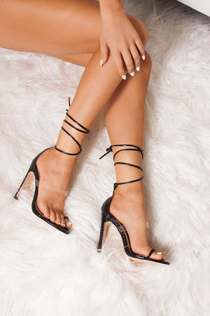 NICKI Black Snake Print Wrap Up Flat Block Heels