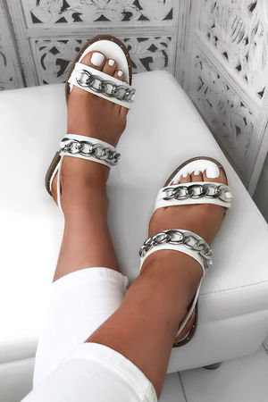 INDIA White Chain Sandals With Silver Detail