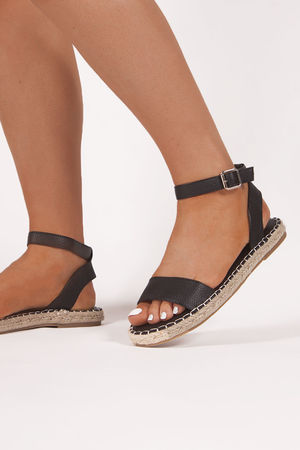 ISABELLA Black Espadrille Sandals