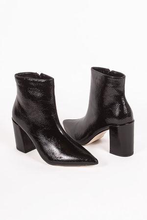 JODIE Black Pointed Toe Block Heel Ankle Boots