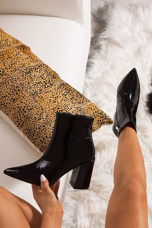 JODIE Black Pointed Toe Block Heel Ankle Boots