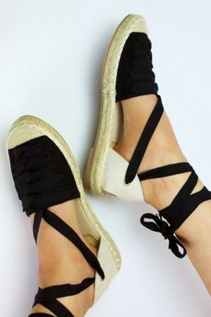 KENDALL Black Wrap Up Espadrilles