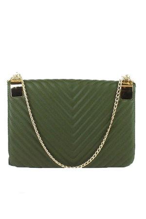EMMA Khaki Quilted Shoulder Bag
