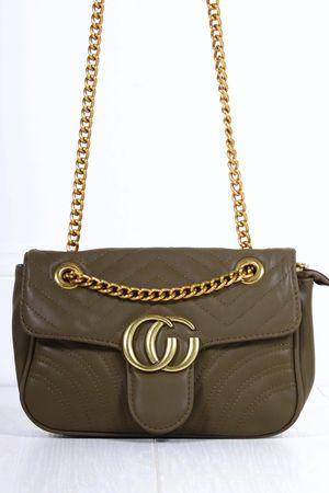 MARNIE Green Quilted Emblem Shoulder Bag