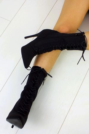 KIMMY Black Lace Up Boot