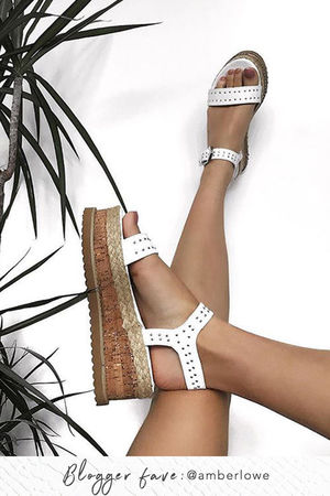 KOKO White Stud Flatform Sandals With Silver Detail