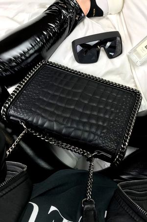 AURORA Black Crocodile Cross Body Chain Bag