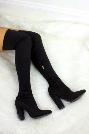 RUBY Black Thigh High Sock Boot