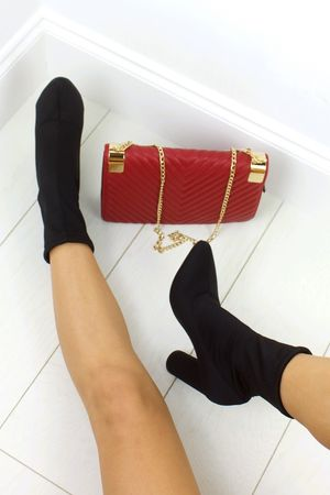 LYDIA Black Satin Sock Boot