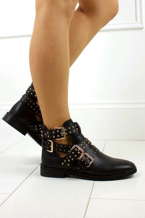 RIHANNA Black Cut Out Buckle Boot