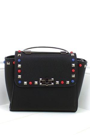 ANYA Black Stud Satchel Bag