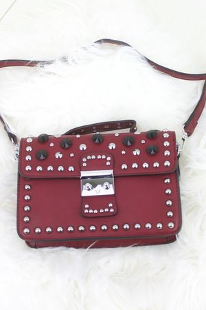 MIRANDA Burgundy Hardware Shoulder Bag