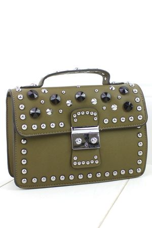 MIRANDA Khaki Hardware Shoulder Bag