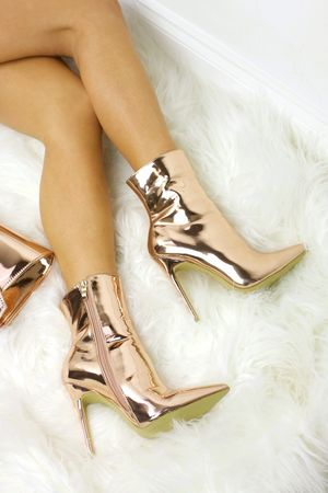 CASSIE Rose Gold Ankle Boot