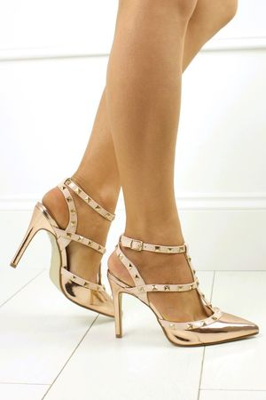 LUCY Rose Gold Stud Stiletto Heel