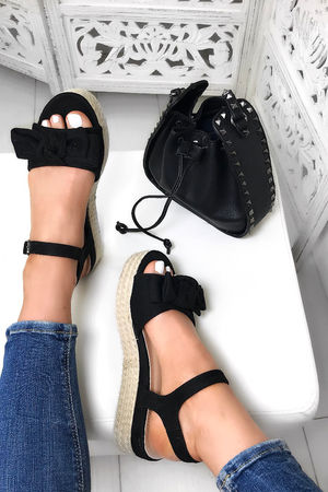 LEAH Black Bow Espadrille Flatforms