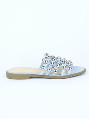 KAYA Light Blue Bauble Mule Sandal