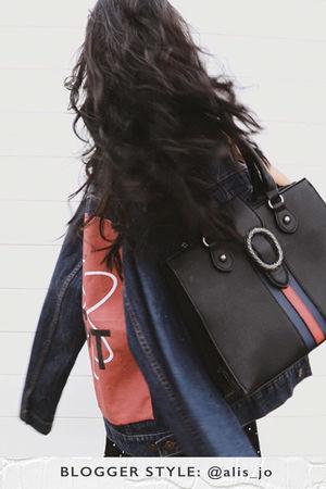 LIZA Black Emblem Shopper Bag