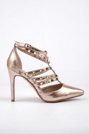 Kayla Rose Gold Cage Stud Heel