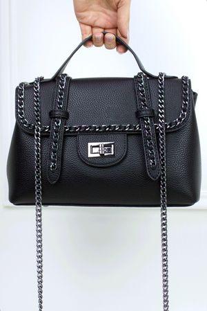 LOTTIE Black Satchel Chain Bag