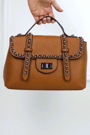 LOTTIE Brown Satchel Chain Bag
