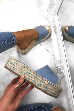 LUCY Blue Espadrille Flatforms