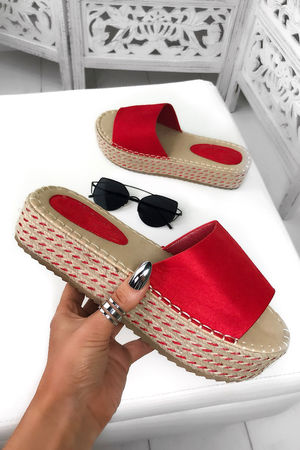 LUCY Red Espadrille Flatforms
